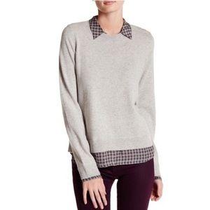 Joie Zhen Wool Cashmere Faux Shirt Sweater